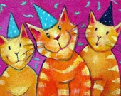 Party Animals  aceo art card