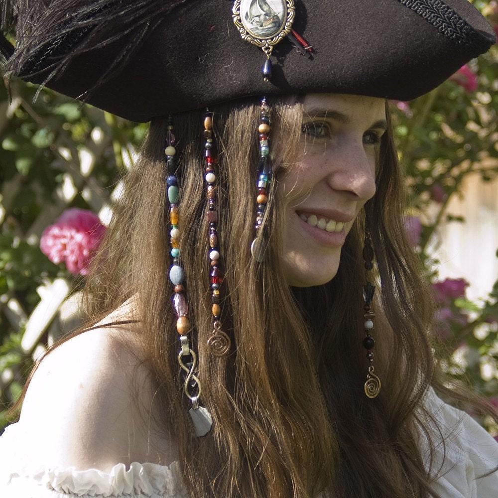 Medium Pirate Hair Jewels Halloween Costume Accessory