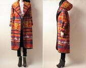 RESERVED. southwest navajo print blanket coat / hooded / oversized / s / m / l
