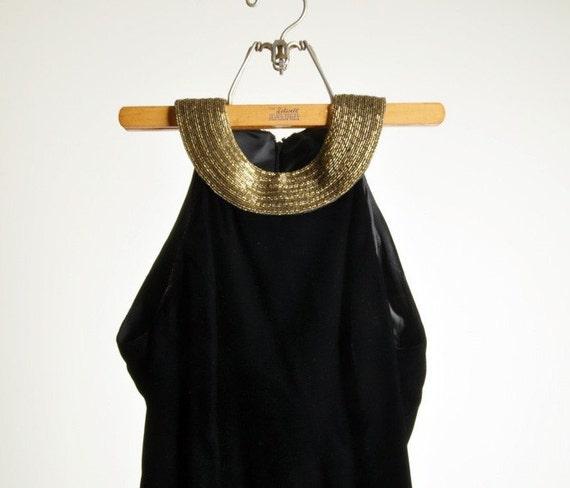 infinitely late at night vintage beaded collar velvet bodycon dress s