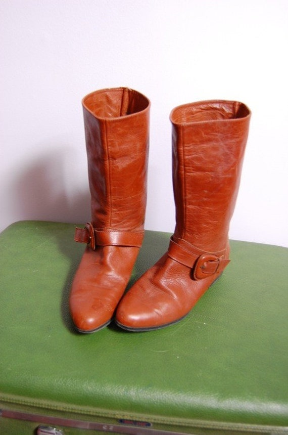 vintage 70s buckle leather strap riding pixie pirate mid calf boots 6m