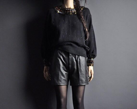 vintage 80s black egyptian beaded sweater