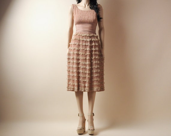 RESERVED. 30s nude tiered lace dress. ruched cummerbund. xs/s