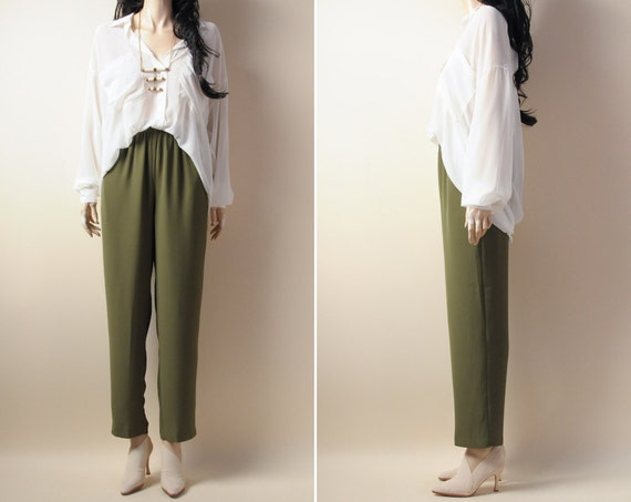 moss green high waist pants. crepe. trousers. baggy. s/m