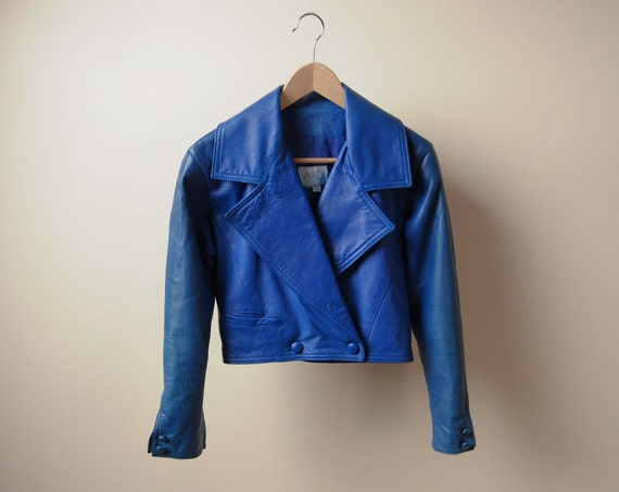 Royal Blue Leather Cropped Moto Jacket S M