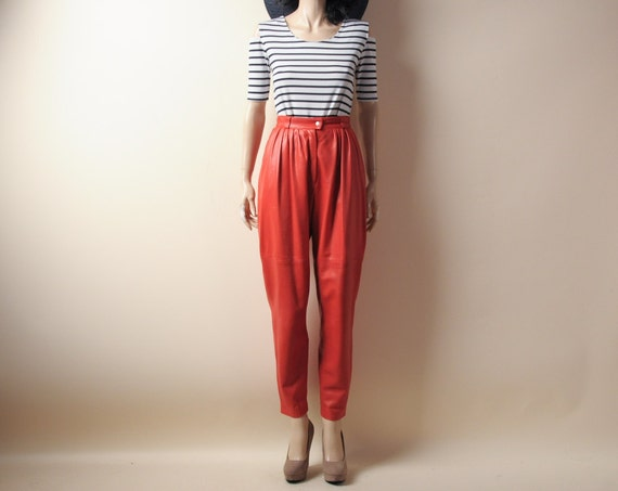 red leather baggy trouser pants. s
