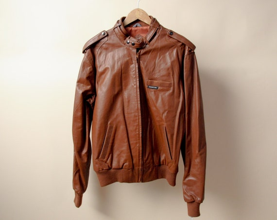 MEN'S brown members only leather bomber jacket / deadstock / 44 L