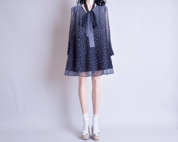 sheer polka dot mini tent dress / pleated bell sleeves / m / l