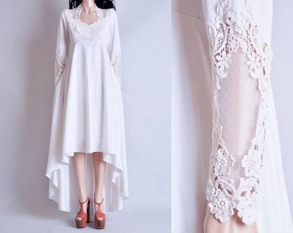 white lace wedding dress / hi low / fishtail / jersey / m