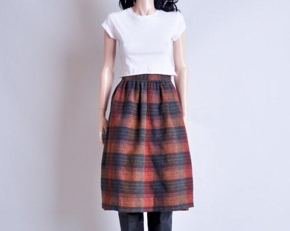 wool tweed plaid midi skirt / xs / s