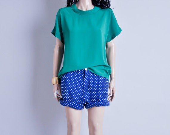 kelly green cowl neck blouse / dolman slv / s / m