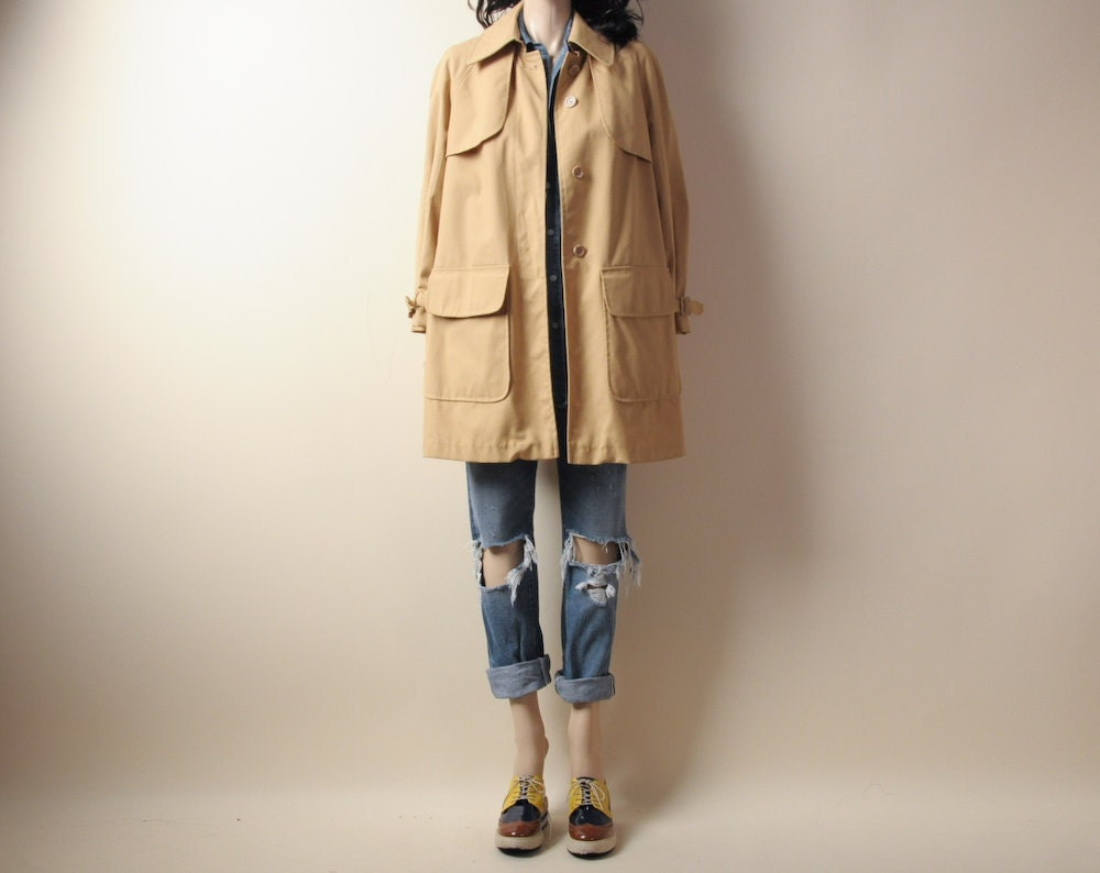 tan canvas a line trench coat sm by persephonevintage on etsy