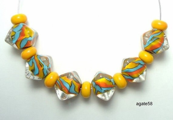 Fun & Bright Crystals Handmade Lampwork Beads SRA