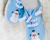 Girls shoes - Sparkley Snowman shoes on hand painted blue sneakers, perfect for Christmas and the winter holidays.  Baby - toddler shoes - Snanimals
