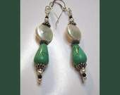 Sea and Moon Turquoise, Pearl, and Silver Earrings
