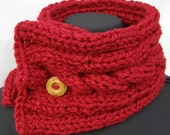 Candy Apple Red Wool Blend Scarfette with Cable and Wood Button