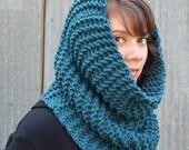 Large Knitted Cowl | aqua | oversized | warm | knit |trishafern | handmade | soft
