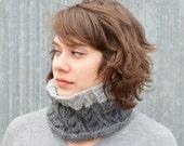 Shades of Grey Cable Knit Ribbed Cowl