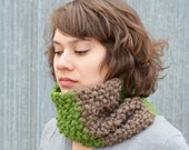 Grass Green and Bark Wool Blend Bumpy Cowl