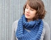 Large Knitted Circular Scarf   cowl   deep sky blue   cornflower blue   oversized   warm   knit  trishafern   handmade   soft