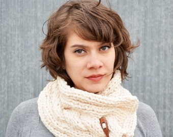 Cowl Scarf w/ Wood Button | white |cable | wool blend | warm | knit |trishafern | handmade | soft | scarf |wood button