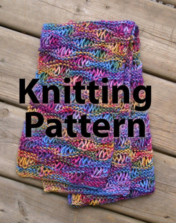 Knit Drop Stitch Shawl Pattern : Easy Drop Stitch Scarf Commercial Use Knitting Pattern