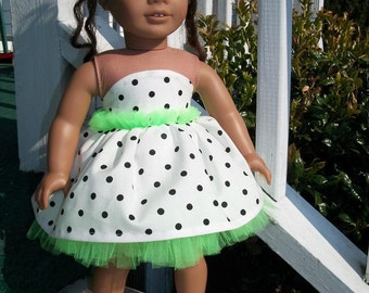 Party Time Dress for the American Gril Doll  White Green