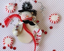Handmade Christmas Personalize Holiday Winter Ornament Mustache Snowman - Gentle Snowman