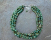 Triple Strand Solid Turquoise Necklace