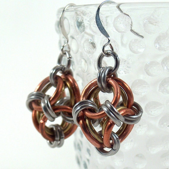 Steampunk Polyhedron Chain Maille Earrings