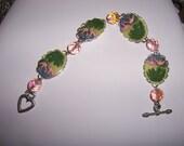 Pink Flamingos Cameo Sparkly bracelet
