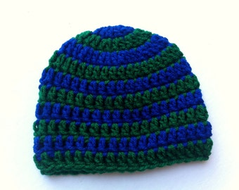 Crochet Baby Hat Blue and Kelly Green Striped