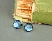 Sky blue . vintage glass cabochon earrings