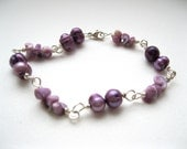 Lilac Freshwater pearl and Shell Bracelet - UK Seller