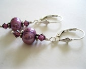 Amethyst Swarovski crystals and Freshwater Pearls Earrings - UK Seller SRA