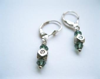 Mystic Green Quartz and Karen Hill Tribe Bead Earrings. Sterling Silver Earrings. Fine Silver Fair Trade Tribal Earrings. Modern Earrings