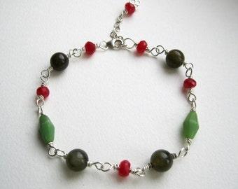 Faceted Red Aventurine, Chrysoparse and Labradorite bracelet - UK Seller