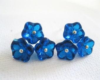 Blue Bell Flower Earrings. Sterling Silver Earrings. Dainty Earrings. Wedding Earrings. Modern Earrings. Cluster Earrings. UK Seller