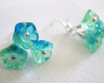 Tropical Blue Green Bi-Coloured Czech Glass Bellflower and Sterling Silver Earrings - UK Seller