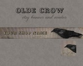 Premade Etsy Shop Banner with Matching Avatar - Grungy Olde Crow