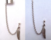 Single Feather Chain with Double Piercing or Earring Cuff, SA459