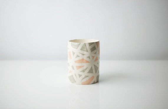 Grey & Peach Mosaic Vessel