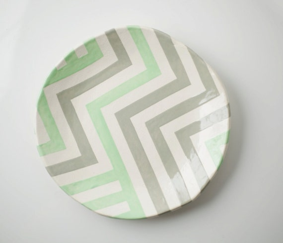 Grey & Mint Zag Dish