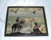 Vintage Silhouette Glass Picture of Cowboys