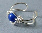 Sterling Silver Lapis Lazuli Ear Cuff gemstone non pierced cartilage earring made to order