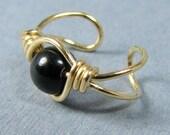 14k Gold Filled Ear Cuff Black Onyx Ear Cuff Gold Ear Cuff Custom bead choice non pierced cartilage earring