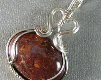 Sterling Silver Pendant Pietersite and Sterling Silver Wire Art Pendant