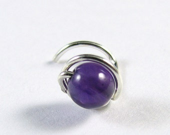 Nose Screw Stud - Sterling Silver and Amethyst - Single Wrap