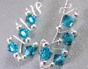 Ear Sweeps Ear Climbers Sterling Silver Swarovski Crystal Teal Indicolite