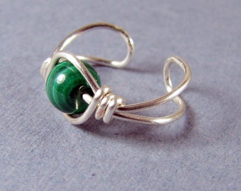 Ear Cuff - Green Ear Cuff Malachite and Sterling Silver Ear Cuff cartilage earring non pierced customize